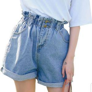 Pants - Light blue High Waisted Denim Shorts Ruffled top M